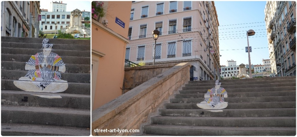l 39 escalier de don mateo street art lyon. Black Bedroom Furniture Sets. Home Design Ideas